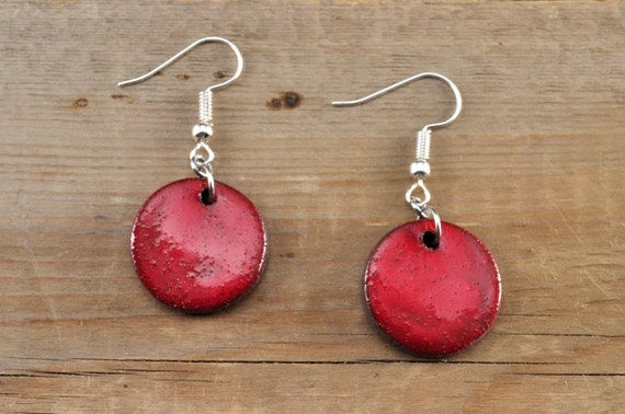 MEDIUM glossy red round stoneware drop earrings