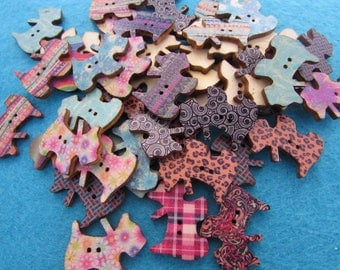 Wooden Scottie Dog Buttons