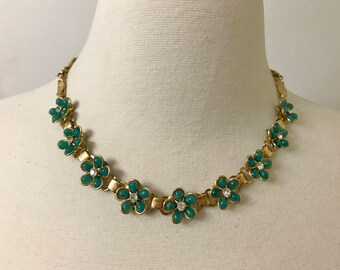 Vintage Green Resin & Rhinestone Flowers Bookchain Necklace