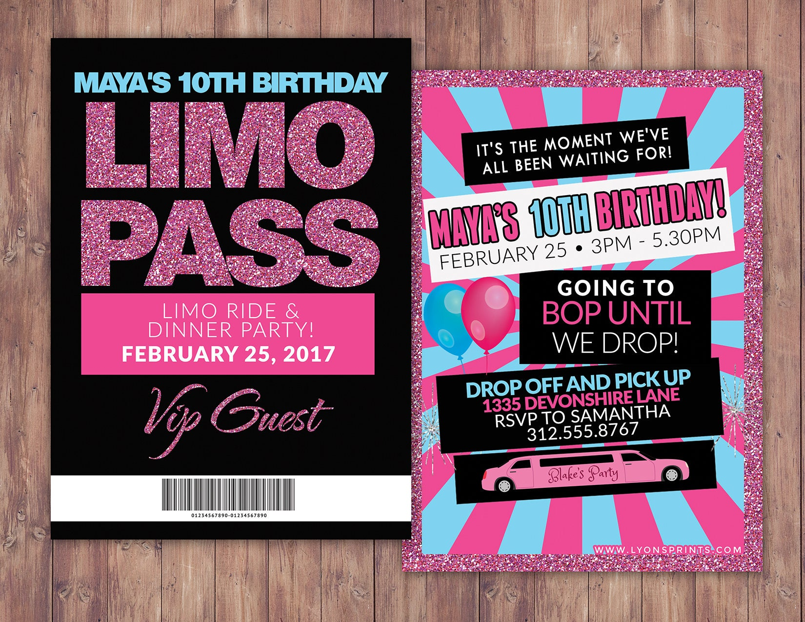 VIP PASS, Limo pass, Birthday party, 21st birthday, backstage pass ...