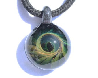 Hand Blown Glass Gold and Silver Fumed Pendant Boro Borosilicate