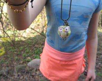 Girls green Owl Charm Necklace