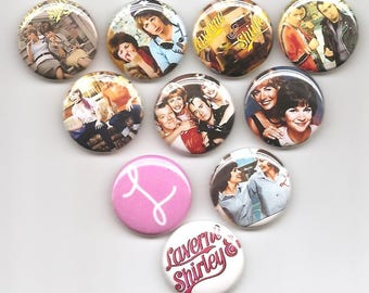 Laverne and Shirley Classic  Set of 10 Pins Button Badge Pinback