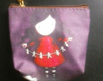 Coin purse, girls, purple, red, Free Shipping