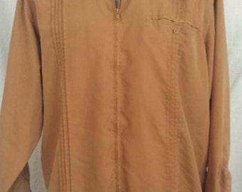Vintage 1990s Men's Haband Zip Up Jacket shirt tan sz XL