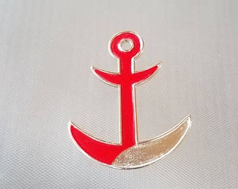 Vintage Red Anchor Nautical  Brooch Pin