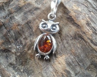 Sterling Silver Baltic Amber Little Owl Pendant Necklace
