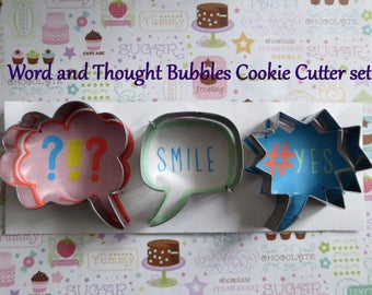 Metal Sugar Cookie Cutters set Canape Hors D'Oeuvre Pastry Cake Tool Fondant Gum Paste Chocolate Fun Word Thought Bubbles