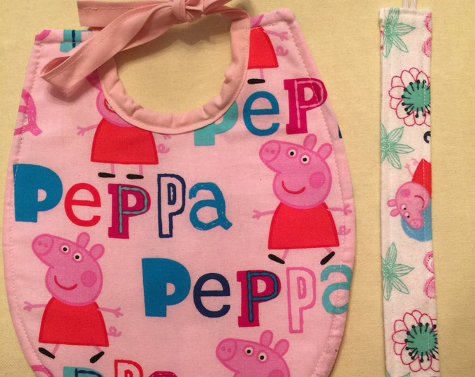 Baby Bib & Pacifier Clip Gift Set Peppa Pig Inspired Fabric