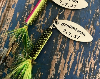 TODAY show feature Best Man Groomsman Fishing Lure Hand Stamped with Date Option - Engraved - Wedding - Best Man Gift - Groomsman Gift