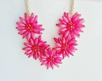 Women's Daisy Flower Necklace Hot Pink Bib Necklace Beaded Beads Statement Necklace