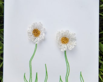 Hand Crocheted Daisy Earrings