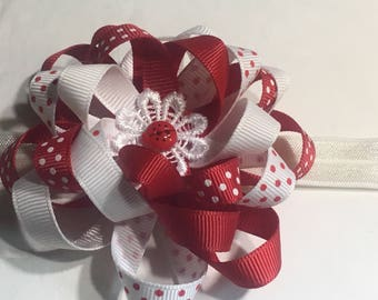 Ladybug Loopy Flower Hair Bow with elastic headband