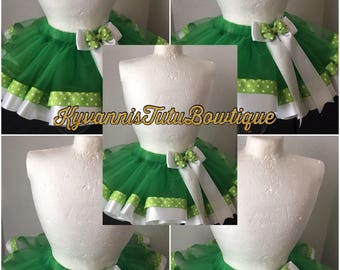 Tinker Bell Inspired Tutu Skirt, Tinker Bell Skirt, Green Skirt, Tinker Bell Ribbon Trimmed Tutu Skirt/ Photo Shoot Cake Smash