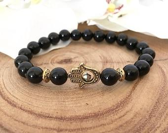 Black Onyx Gold Hamsa Spiritual Bracelet, Healing Bracelet, Protection Bracelet, Yoga Bracelet, Gift for Her, Hamsa Bracelet
