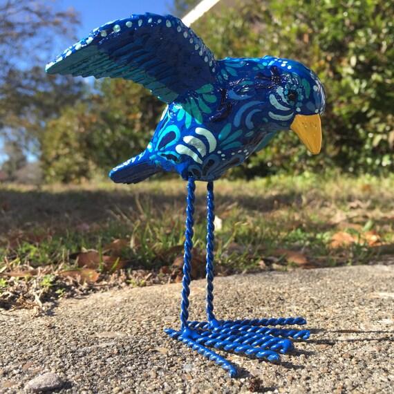 Small Blue Bird Bird Figurine Home Decor Blue Decor