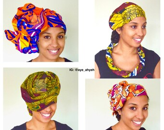 Headwraps and shawls in African fabrics - Earth and Fire tones