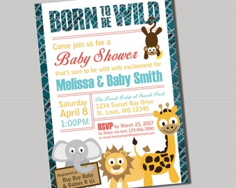 Born To Be Wild Baby Shower Invitation- PRINTABLE DIGITAL FILE