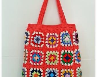 Crochet Bag, Retro Bag, Crochet Beach Bag, Granny Square Bag, Boho Style, Shoulder Bag, Gift for Her, Summer Bag