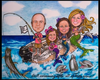 Custom caricature, retirement gift, retirement men, retirement women, Christmas cards, Christmas gift, doctor caricature, mermaid caricature