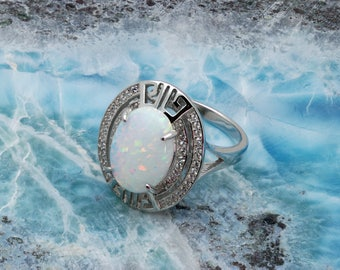 White Opal 14X10 Oval With White Sapphire Accents .925 Sterling Silver (New Style)