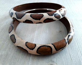 SALE, Wooden Bangles, African Bangles, African Jewelry, Animal Print, Wooden Bracelets, Wooden Jewelry, Non Metal Jewelry, Bangle Bracelet