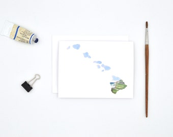 Hawaii State Art Card - Hawaii Notecard - Watercolor Card - Hawaii Gift - Hawaii Wedding - Blank Notecards - Hawaii Watercolor - Hawaii Art