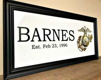 Marine Corps, Marine Wife, Marine Girlfriend, Custom Family Gift, Military Gifts, US Marines, Deployment Gift,  Marine Mom, Marine Family