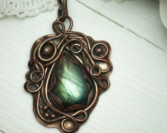 Nariella -copper and labradorite, wire wrap unique necklace, green-yellow shine,ooak,handcrafted,recycled,eko, rustic, elvish,nature,vintage