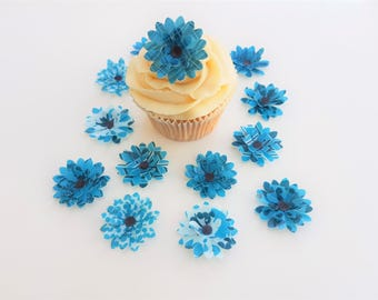14 Edible Turquoise Heaven 3D Wafer Flowers Cupcake Toppers Precut