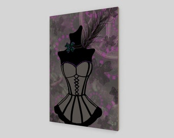 Steampunk corset wall art, print, poster or wood, purple and gray original artwork for your home decor by Felicia-May Stevenson