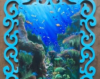 Original Underwater Blues Acrylic Painting