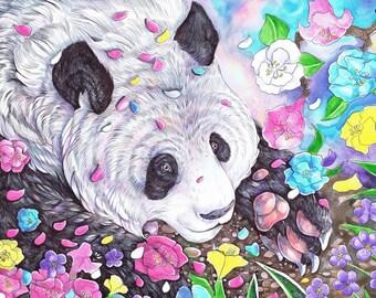 PANDA FLOWERS // Original // Watercolor Ink // Painting // Illustration