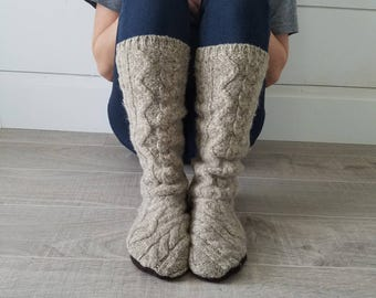 "XL Light Brown Sweater Socks // Size 8-11, 17"" Tall // Cabin Socks // upcycled wool sweater // Washable // Thick felted wool sole"