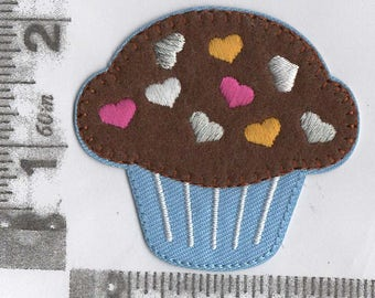 Chocolate cupcake with embroidered sprinkles iron on patch