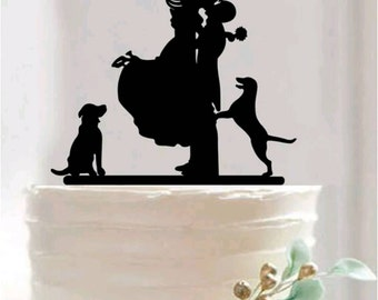 Bride & Groom with dogs black acrylic cake topper