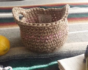 Pink Small Basket, Natural Jute Basket, Easter Basket, Storage Basket, Gift Basket