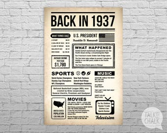 Back In 1937 Newspaper-Style DIGITAL Poster, 80th Birthday PRINTABLE Sign, 80th Birthday Poster, 80th Birthday Gift, 1937 Sign, 1937 Poster