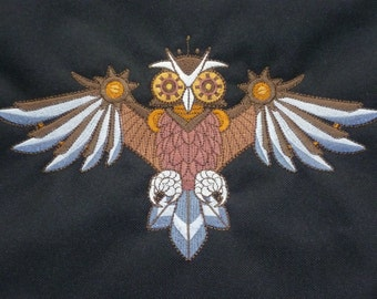 Steampunk Owl Cushion Cover, Embroidered design. Victoriana Clockwork