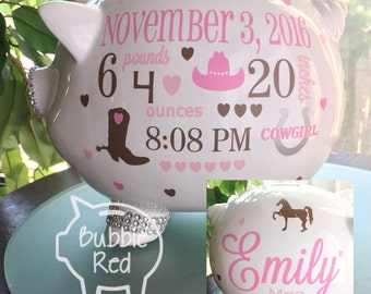 Cowgirl Personalized Piggy Bank, Custom Piggy Bank,  Personalized Baby girl, Cowboy Piggy Bank, Piggy Bank Baby Girl,  Horse Baby