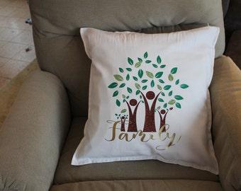Family Tree decorative pillow, Decorative Throw Pillow, Glitter Throw Pillow,  Housewarming Gift, Throw pillow, Family Tree, Grandparents