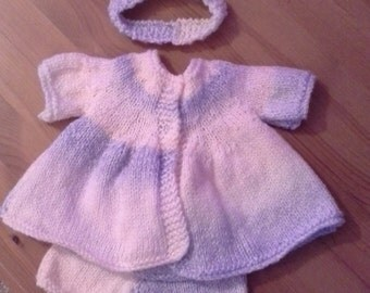Hand knitted baby doll 3 piece outfit