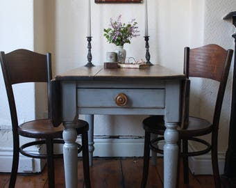 Substantial Victorian Pine Drop Leaf Table with Cutlery Drawer in Zinc Grey