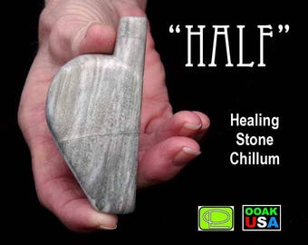 Hand carved stone heart chillum eco art