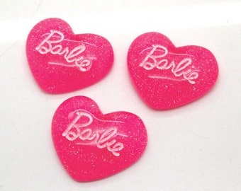 5 pcs Barbie Pink with Glitter Resin Cabochons