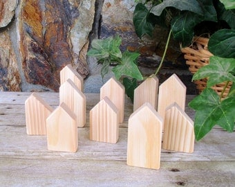 Little wooden houses - Wood block houses - DIY - Unfinished wooden houses - Small rustic wooden houses - Wooden village - Gift under 20