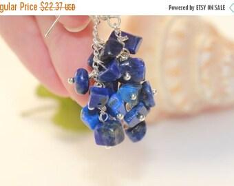 VALENTINE SALE 25% Be my Bridesmaid earrings Lapis Lazuli  chips earrings Deep blue gemstone earrings Royal blue navy blue earrings Royal ea