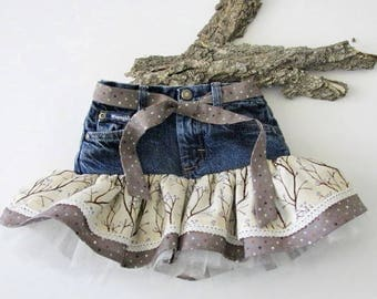 Toddler girl 3T recycled jean skirt/tutu with ruffled skirt trimmed with lace and tulle. Little girls skirts/handmade childrens clothing