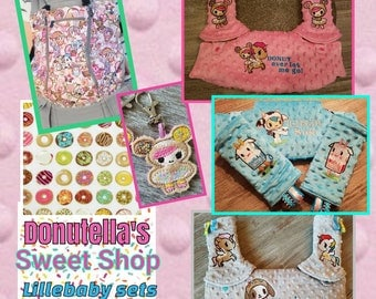 New Tokidoki listing.  Lillebaby's Donutella SWEET SHOP 3-PC Headrest bib/straight suck pads set. Curved Pads upgrade available.