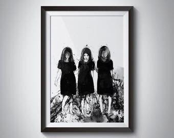 I need some new friends, Art Print, Surreal Art, Acrylic Painting, Art Prints, Black and white art, Ink Art, Three Girls, Spooky Art, Dark